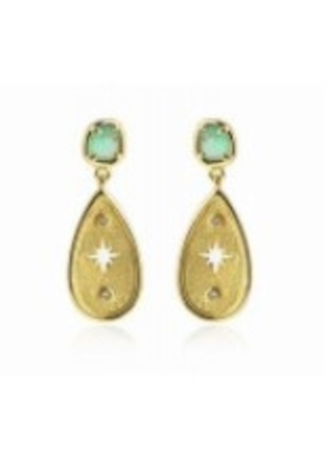 BPE314 CAT'S EYE STONES EARRINGS WITH DROP DESIGN