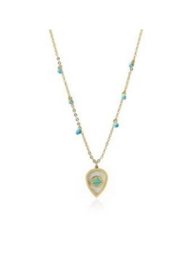 OA831 NECKLACE WITH DROP WITH SHELL WITH DIAMOND DESIGN