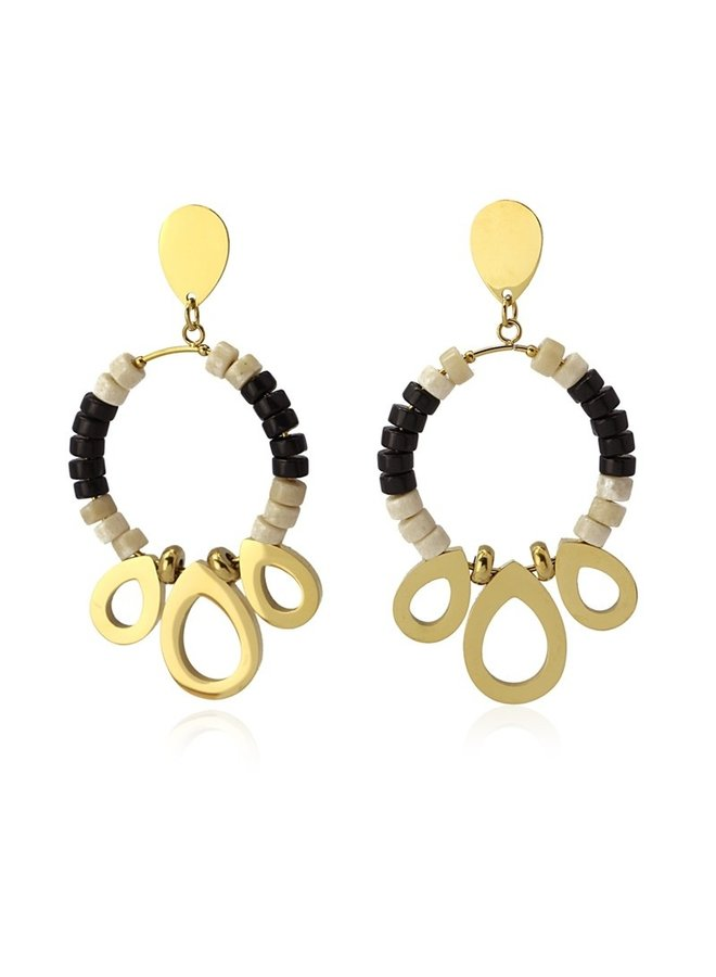 BPE552NB Earrings with 2 color stone and metal piece