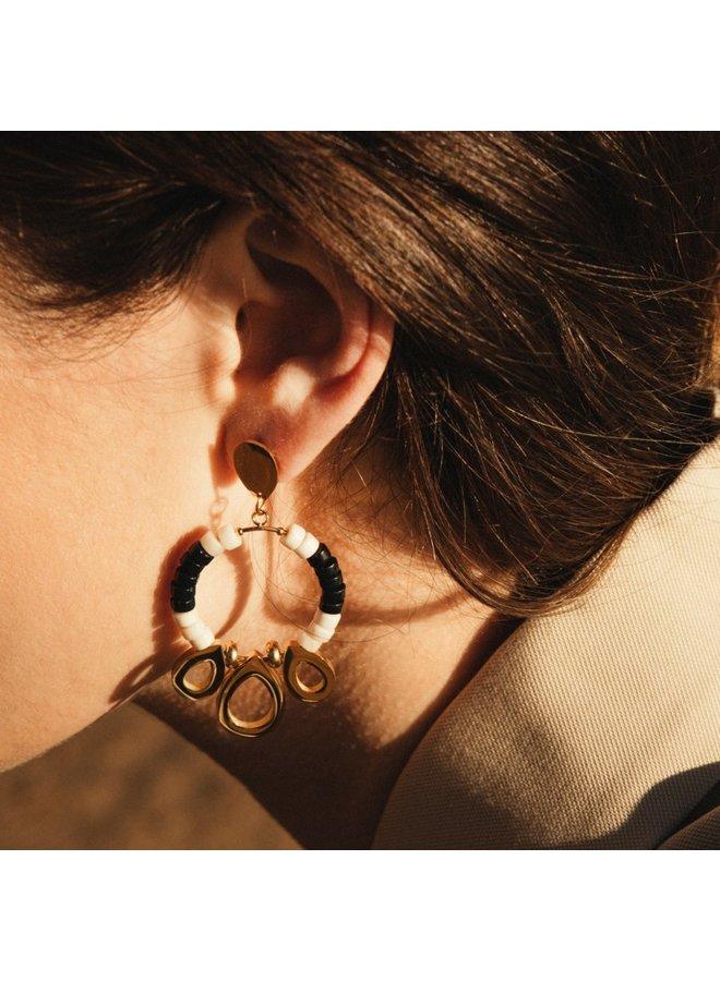 BPE552NB Boucles d'oreilles avec pierre 2 couleurs et pièce en métal