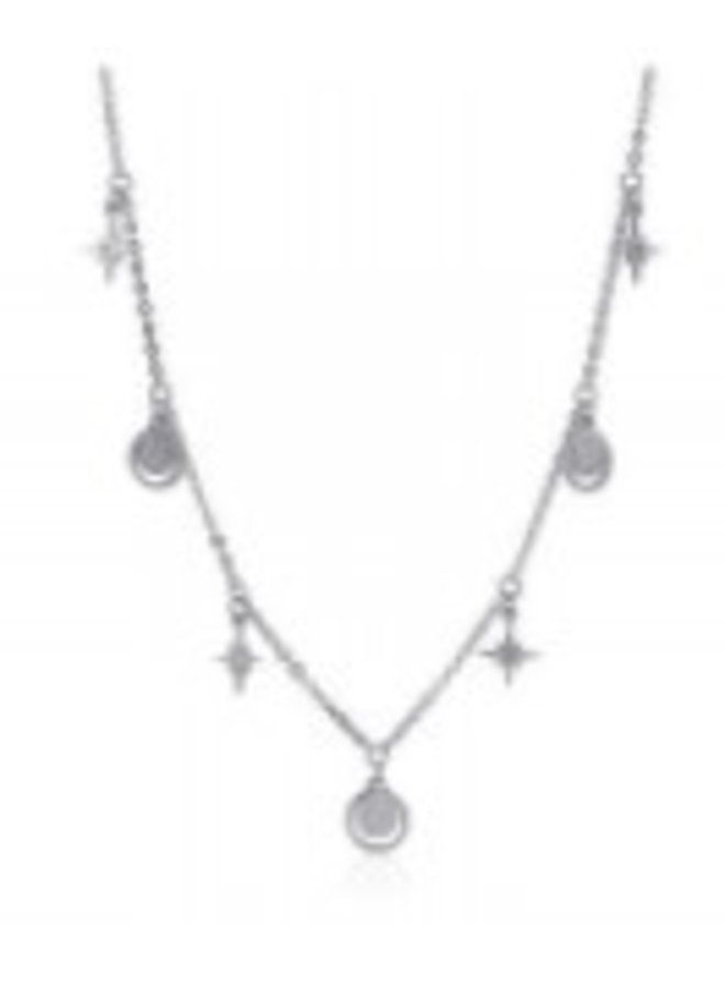 COA798  NECKLACE totally silver WITH MULTIPLE SYMBOLS FLASH