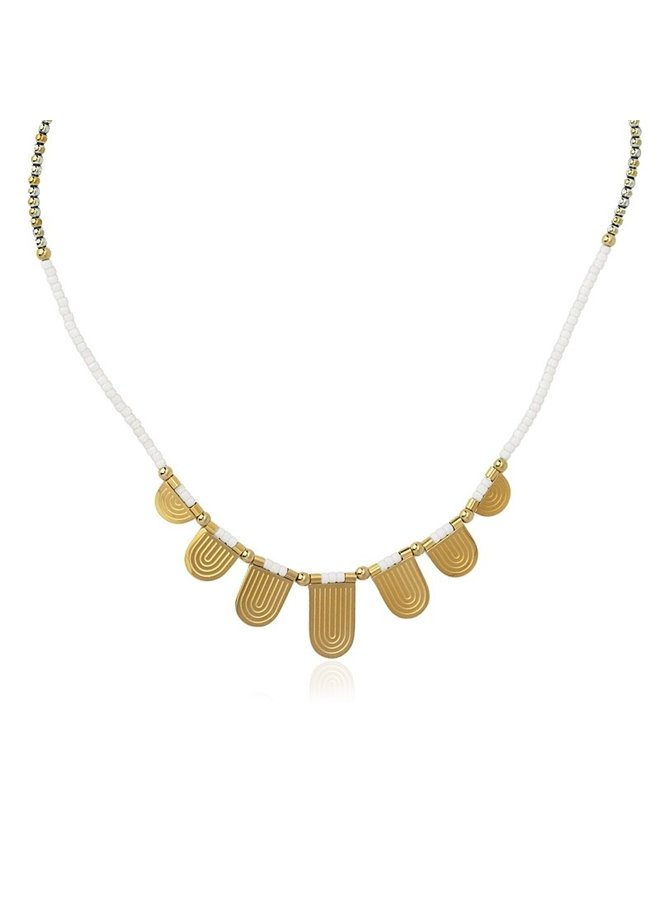 NECKLACE MULTICHAR WITH BEADS AND SEMICIRCLE METAL PIECES
