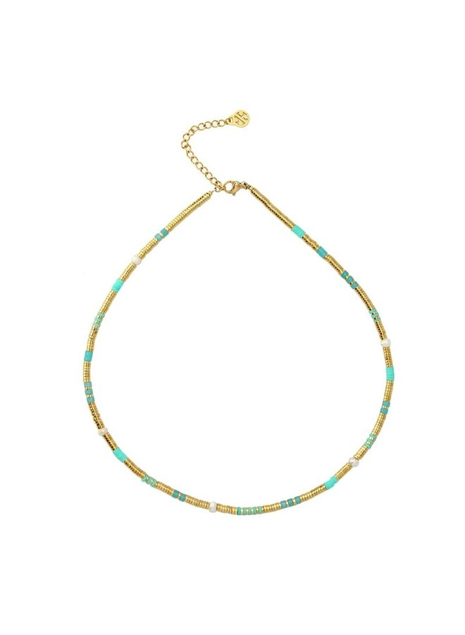 BCO040AT  NECKLACE WITH METAL BEADS AND STONE PEARL