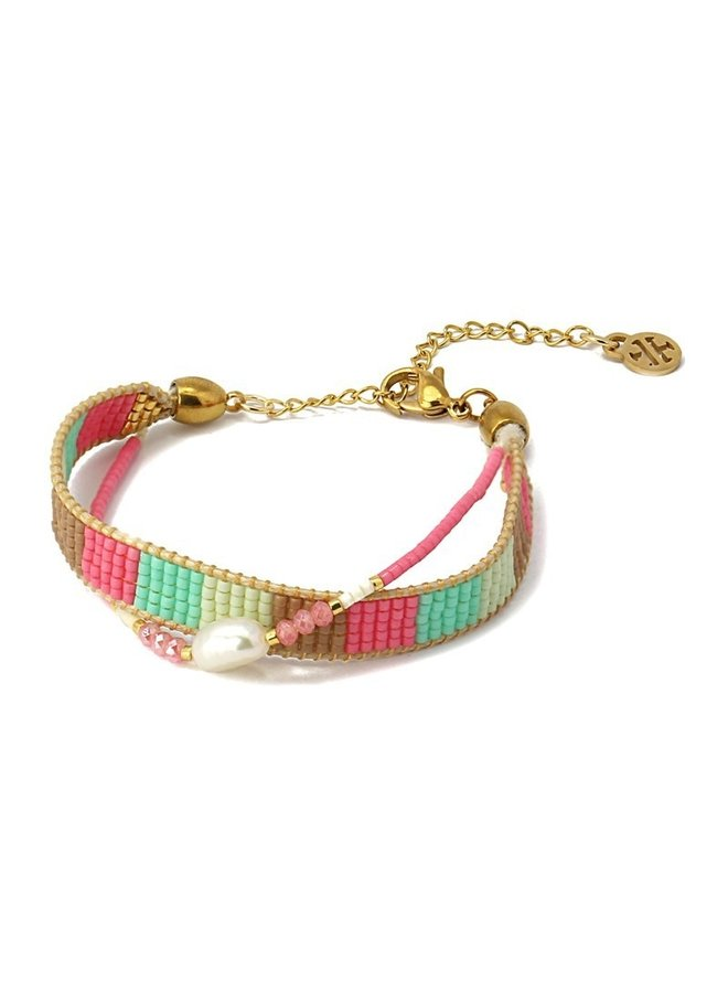 BPU098RS Multicolor bead bracelet with a pearl in the middle roze
