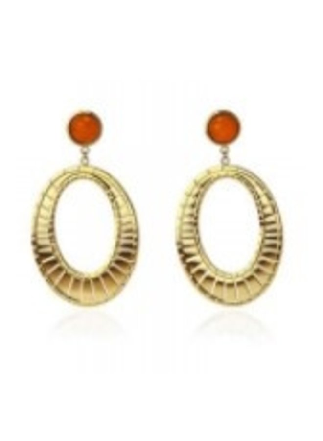 BPE138NA round ethnic earrings with red stone