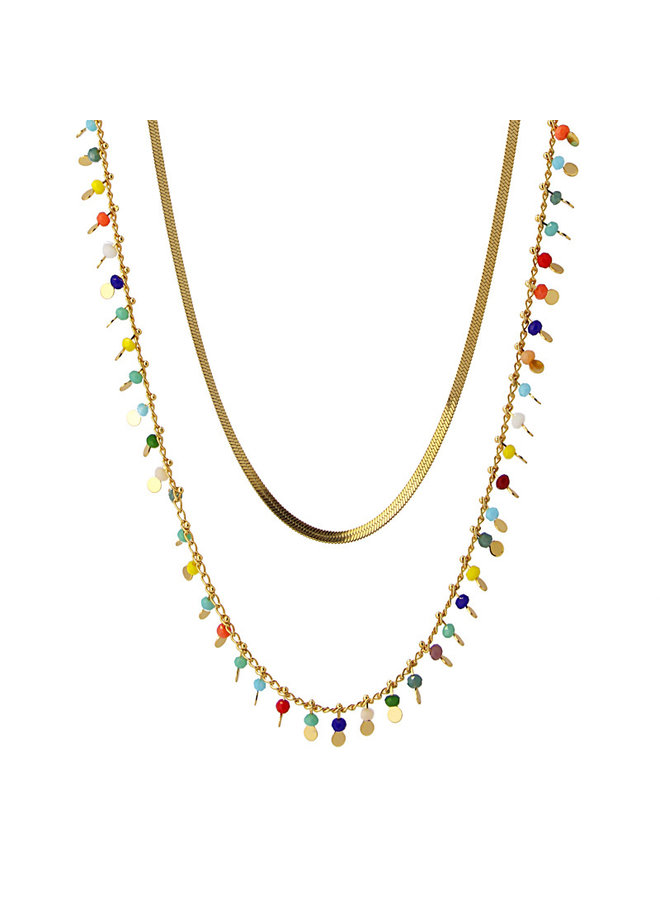 BCO102COM  NECKLACE LONG MULTI CRYSTAL AND ROUND METAL BEADS