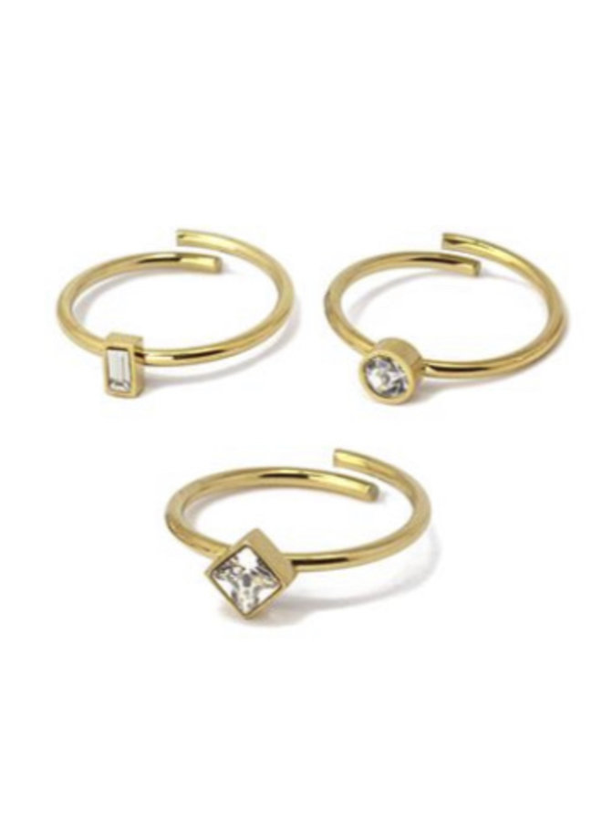 AAN515  THREE RING WITH THREE GEOMETRIC SHAPES OF ZIRCONS