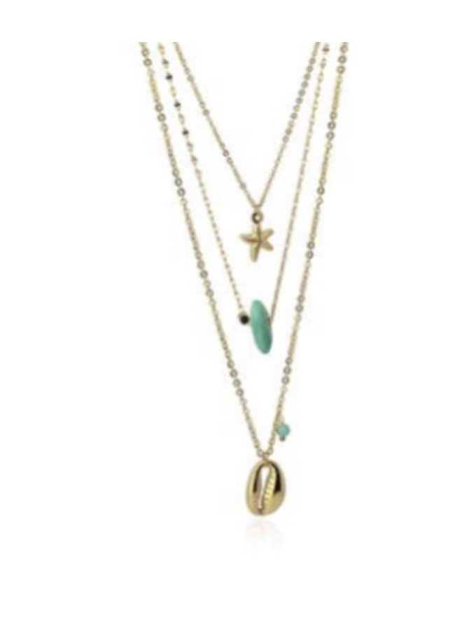 COA864AZ  MULTI CHAIN NECKLACE WITH CONCH AND STAR