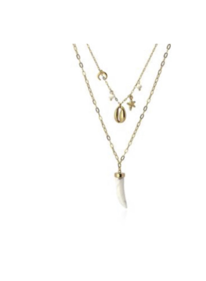 COA867  DOUBLE NECKLACE HORN CONCH AND STAR