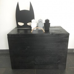 Klein & Stoer Steigerhouten speelgoedkist zwart