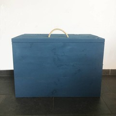 Klein & Stoer Steigerhouten speelgoedkist jeansblauw
