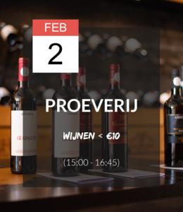 2 FEB - Proeverij: Wijnen onder de 10 euro (15:00 - 16:45)