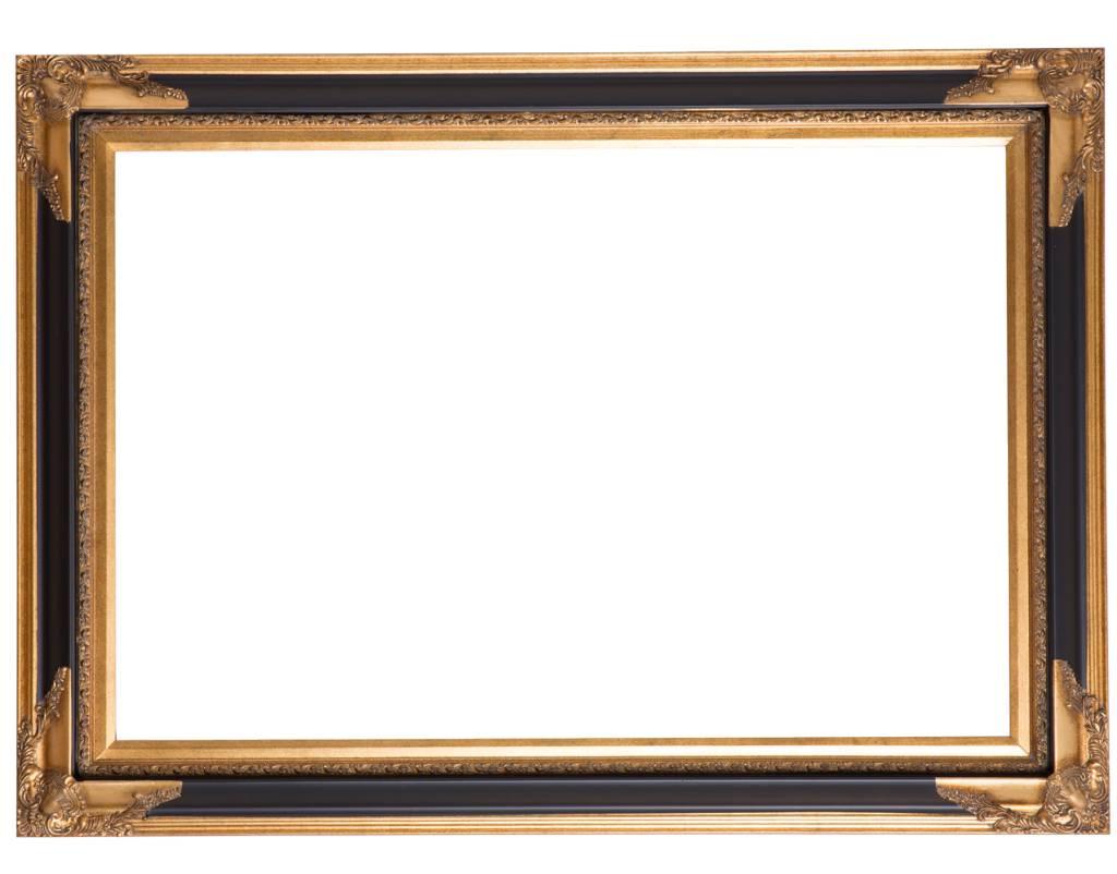 Naples - Luxe Lijst  met Hoekornamenten - Kleur Zwart met Goud