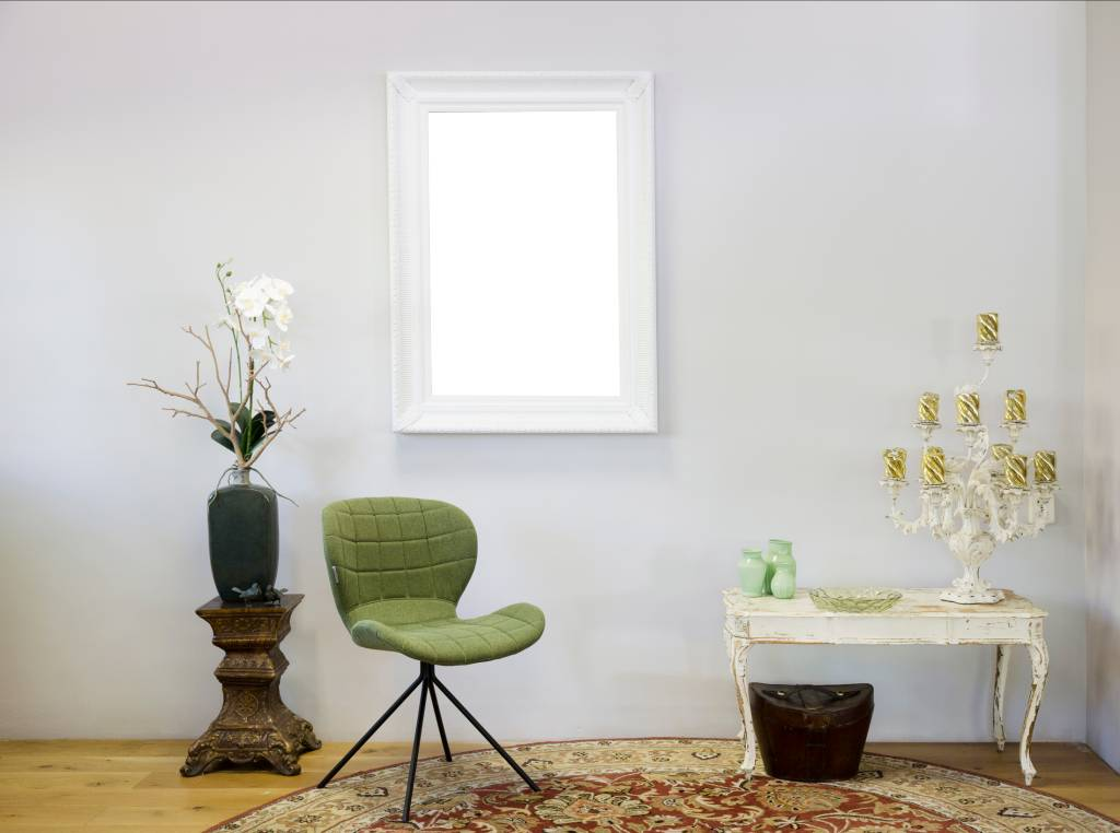 Bari Witte lijst van hout met ornament