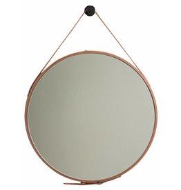 Rome - ronde spiegel - bruin leer