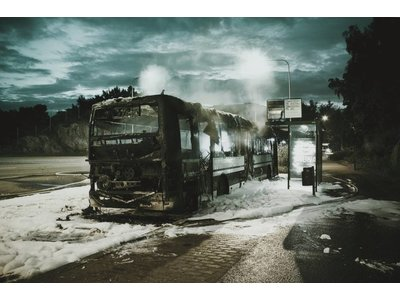 Bus fire by Hans Eiskonen