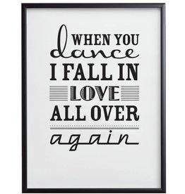 Dance & Love - poster met zwarte lijst en glas