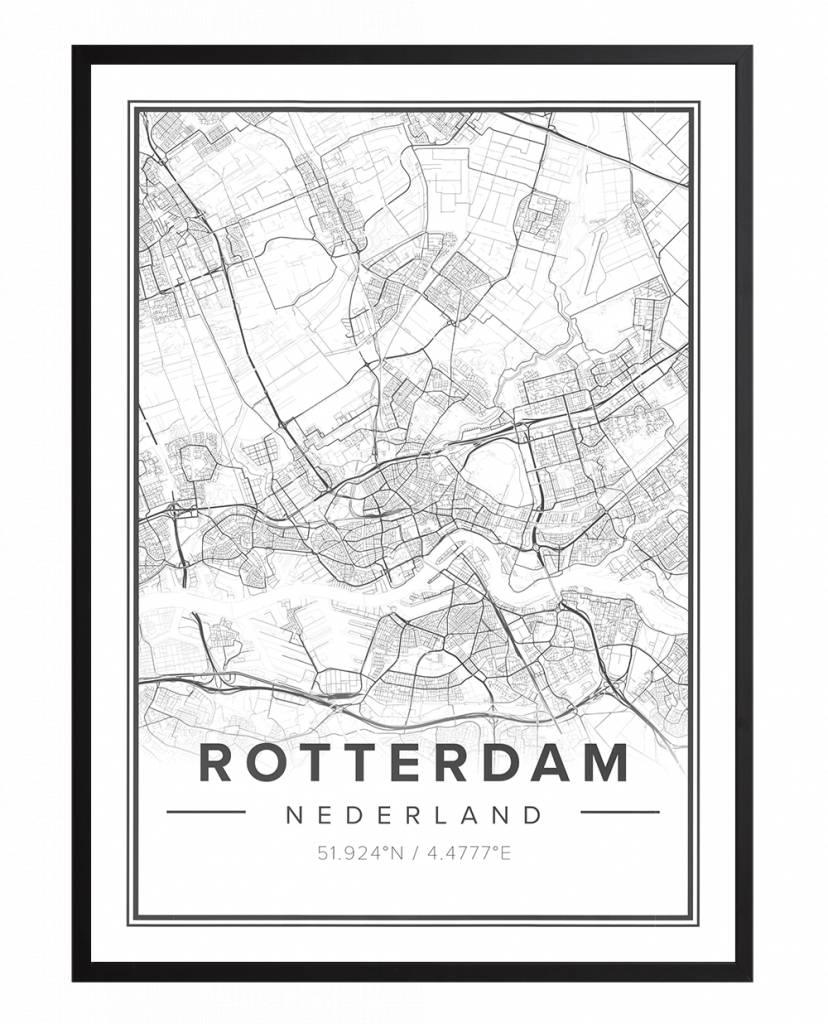 Ingelijste Stadskaart Rotterdam Premium