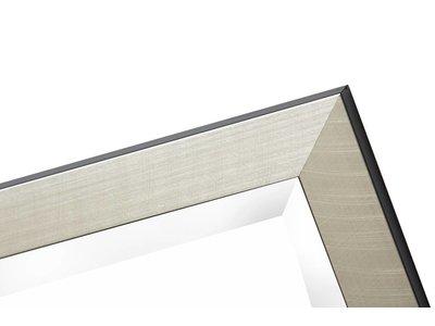 Mariotto - spiegel - geborsteld zilver / zwarte rand