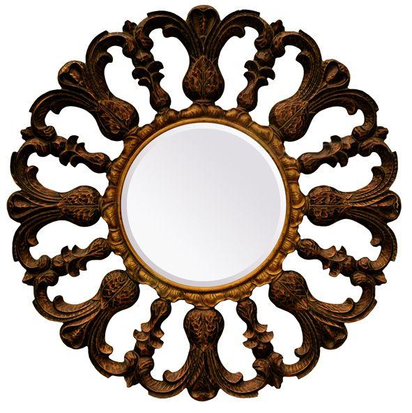 Venetië - ronde spiegel - goud/bruin