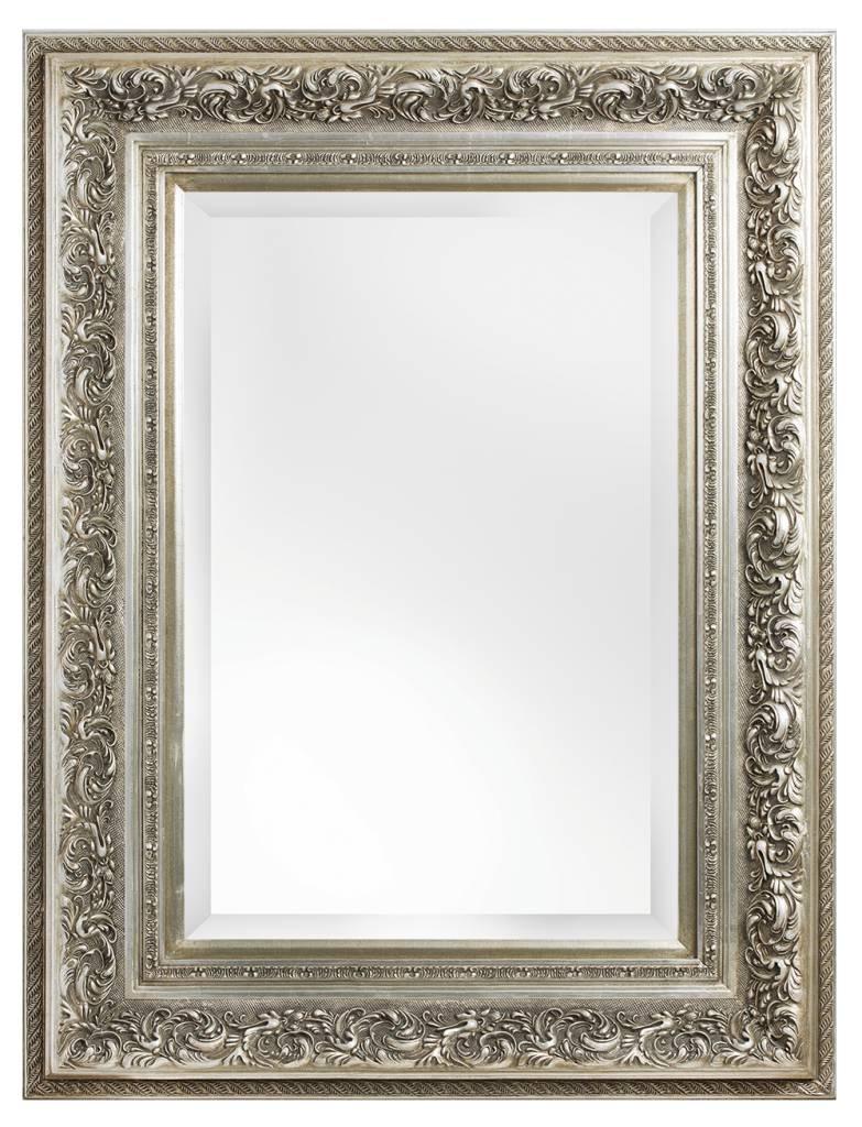 Brocante Zilveren Spiegel.Genova Luxe Barok Spiegel Met Windmotief Licht Zilver Gekleurd