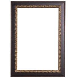 Forli - Lijst met Bladmotief en donkere buitenrand - Kleur Donkerbruin En Donker Goud