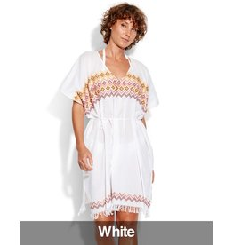 Seafolly Seafolly - Inka Gypsy Geo Embroidered Kaftan, White, One Size