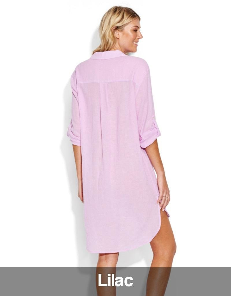 Seafolly Seafolly - Crinkle Twill Beach Shirt, Lilac