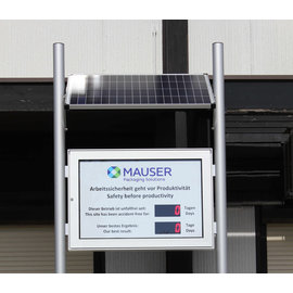 RiCo Accident free days showcase solar powered WITHOUT CABLING!