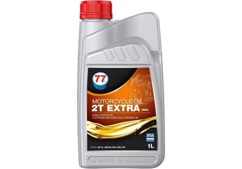 77 Lubricants Motor Cycle Oil 2T Extra (Red) - Motorfietsolie, 1 lt