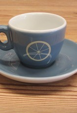 Life on a Bike Espresso Cup/Saucer Blue/Grey