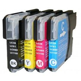 Brother LC1100/980 compatible inktpatronen set van 4 stuks