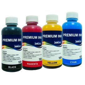 Brother Dye inkt Inktec 100 ml. flacon set van 4 kleuren