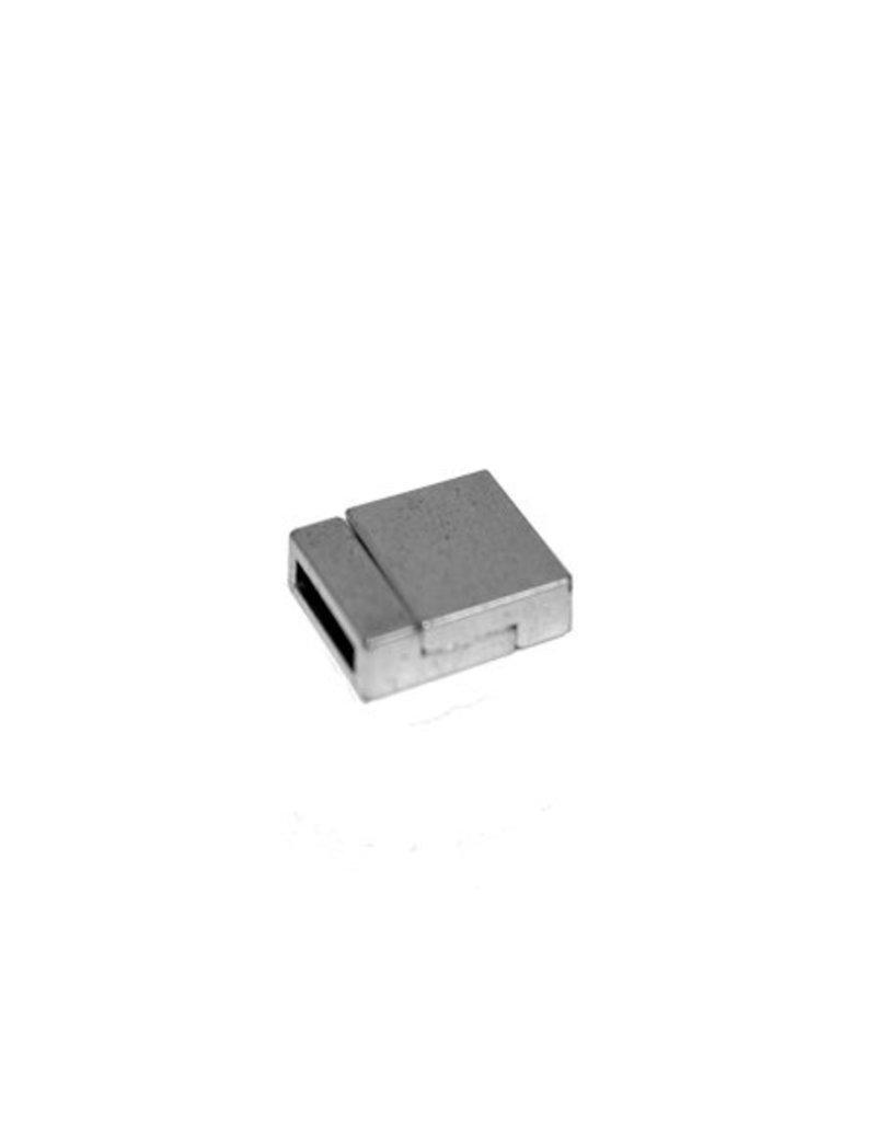 CDQ Sluiting 2-delig magneet 13mm zilverkleur per 5 stuks