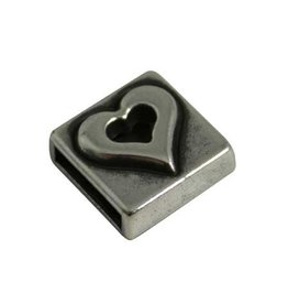 CDQ slider bead square heart 10mm silver plating
