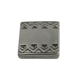 CDQ slider bead square  celtic edge 13mm silver plating