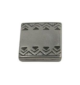 CDQ slider bead square  celtic edge 13mm silver plating