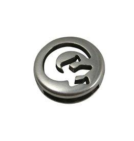 CDQ slider bead round salamander silver plating