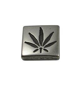 CDQ schieber perle zamak Cannabis Quadrat 13mm Versilberung