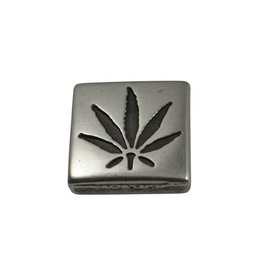 CDQ slider bead cannabis square  13mm silver plating