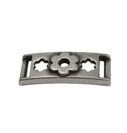 CDQ Armband schuiver Bloemen 37mmx10mm zilverkleur