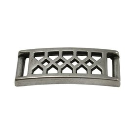 CDQ bracelet plate with diamond patern 37x10mm silver plating