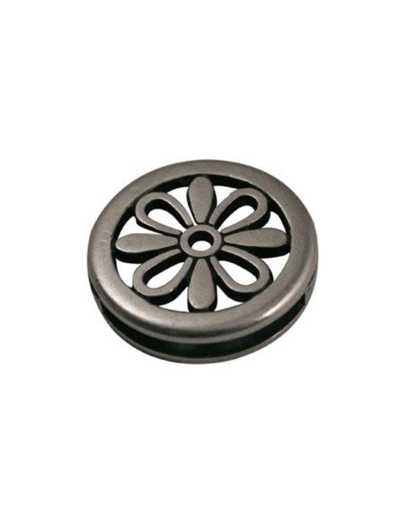 CDQ Ls leerschuiver bloem rond 24X3mm zilverkleur