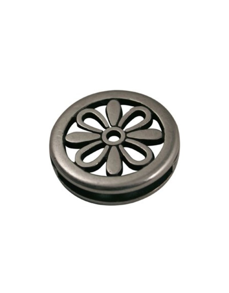 CDQ slider bead flower round 24X3mm silver plating
