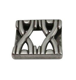 CDQ slider bead double X 24x3mm zilver