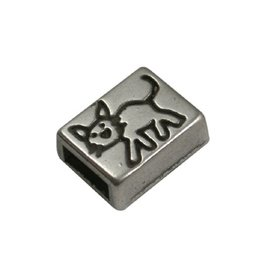 CDQ slider bead  oblong kitty 6mm silver plating