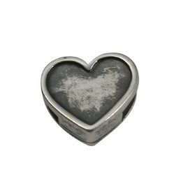 CDQ slider bead Heart  6mm silver plating