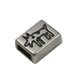 CDQ slider bead 6mm dog silver plating