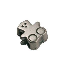 CDQ slider bead bear 6mm silver plating