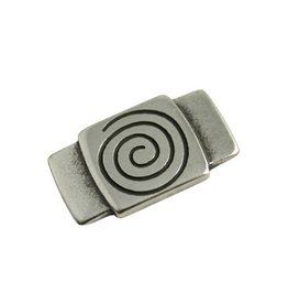 CDQ slider bead square  spiraal/ plaatje 30x16mm